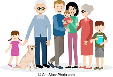Family. Parents, children, grandmother and grandfather....