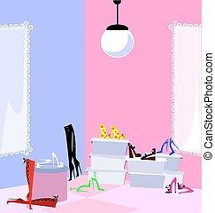 shop and shoes - pink and blue abstract shop and a lot of...