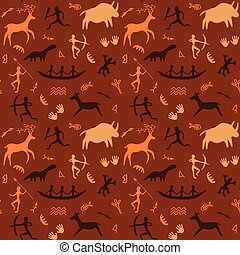 Cave Drawings Theme - Vector Seamless Pattern with Cave...