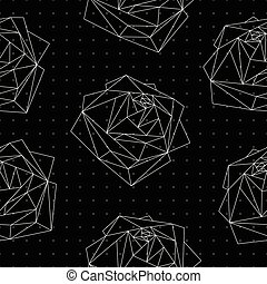 Seamless pattern with abstract polygonal roses - Seamless...