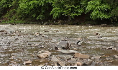 Breathtaking river scenery with stones in it is on the...