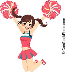 Jumping Cheerleader Girl - Young happy jumping cheerleader...