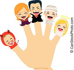 Halloween Family Hand - Cute finger puppets family wearing...