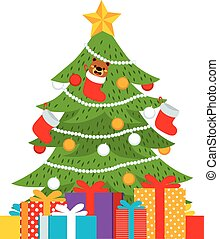 Christmas Tree Presents - Flat color style illustration of...