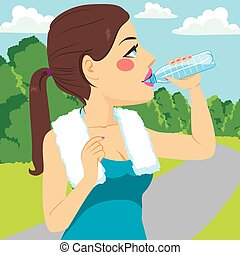 Sport Woman Drinking - Young runner woman drinking water on...
