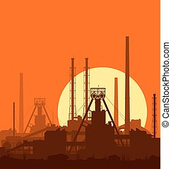 Mineral fertilizers plant at sunset. Detail vector...