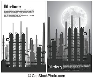 Set of Oil and gas refinery flyers - Set of Oil and gas...