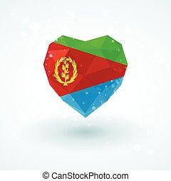 Flag of Eritrea in shape diamond glass heart Triangulation...