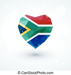 Flag of South Africa in shape diamond glass heart....
