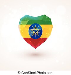 Flag of Ethiopia in shape diamond glass heart Triangulation...