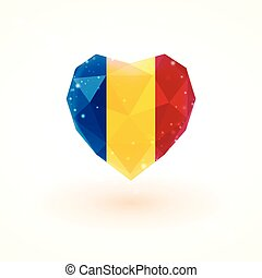 Flag of Chad in shape diamond glass heart. Triangulation...