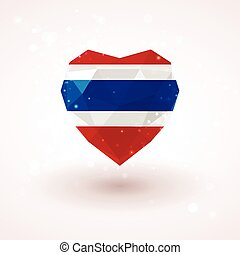 Flag of Thailand in shape diamond glass heart. Triangulation...
