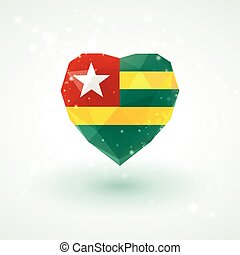 Flag of Togo in shape diamond glass heart. Triangulation...