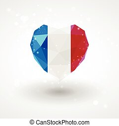 Flag of France in shape diamond glass heart. Triangulation...