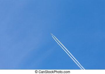 Aircraft in the air - Shot of long trail of jet plane on...