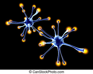 Interacting Neuronal Cells - 3D rendered Illustration.