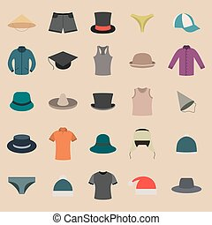 A set of clothes and hats, vector illustration. - Set...