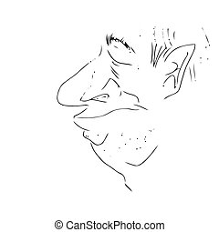 Mans face caricature Vector - Mans face caricature on a...