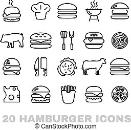 collection of hamburger line icons