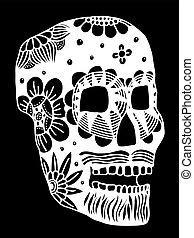 Hand drawn Skull of abstraxt flower Vector illustration