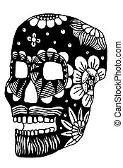 Hand drawn Skull of abstraxt flower. Vector illustration