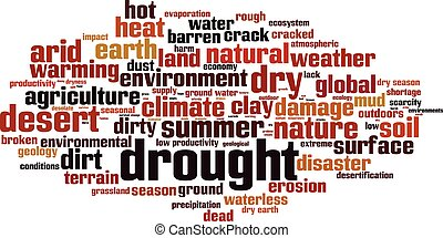 Drought-horizon.eps - Drought word cloud concept. Vector...