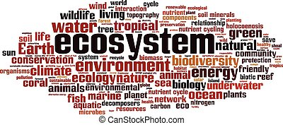 Ecosystem-horizon.eps - Ecosystem word cloud concept. Vector...