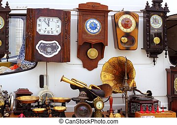antiques fair market wall old clocks vintage stuff