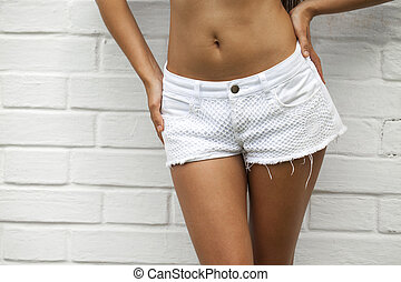Female body part denim jeans shorts - Closeup Female body...