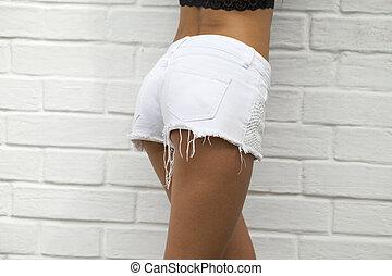 Female body part denim jeans shorts - Closeup Female body...