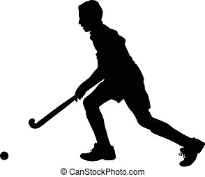 Silhouette of boy hockey player running with ball - Black on...
