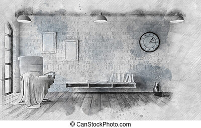 Sketched image of a modern interior
