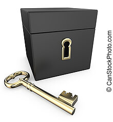 Golden Key. - 3D Render of Closed Black Box with Golden Key.