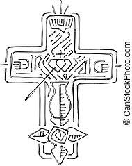 Religious Cross with symbols