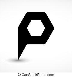 Black map pin flat location sign hexagon icon