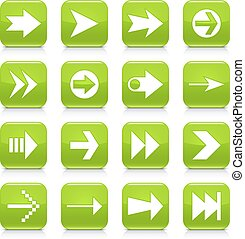 Green arrow sign rounded square icon web button - 16 arrow...