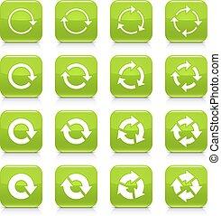 Green arrow repeat sign square icon web button - 16 arrow...