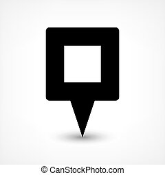 Black blank map pin flat location sign square icon - Map pin...