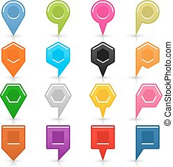 Colorful map pin sign location icon with shadow - 16 blank...