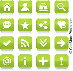 Green basic sign rounded square icon web button - 16 basic...