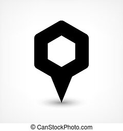 Black map pin flat location sign hexagon icon - Map pin...