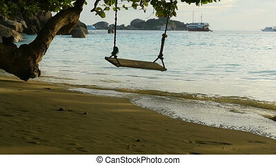 A rope swings on the beach at Similan island, Thailand, slow...