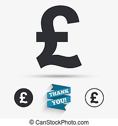 Pound sign icon GBP currency symbol Money label Flat icons...