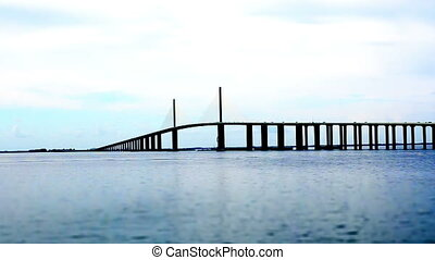 Tampa Skyway Bridge tilt shift - Florida Tampa Skyway Bridge...