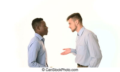 two young businessman talking. African American businessman...