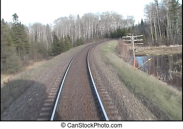 Train tracks shot from caboose - A view of tracks from the...