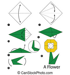 origami A Flower - step by step instructions how to make...