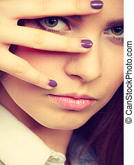 Lovely glamorous young woman portrait. - Female charm and...