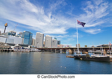 Pyrmont Bridge and Cockle Bay in Darling Harbour, Port...