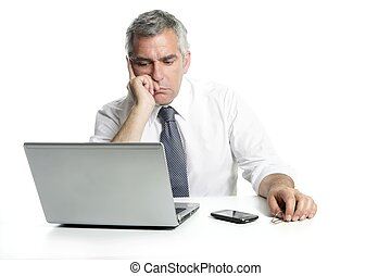 businessman sad senior thinking laptop computer white...